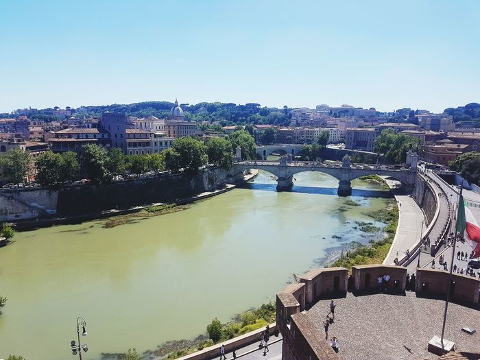 Rome Italy 🇮🇹 Tiber River View From Above Cityscape Moving Around Rome