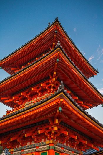 Pagoda at Kiyomizu Temple, Kyoto. EyeEm Masterclass Japanese  Kyoto Japan Photography Japan Temple Pagoda Travel ASIA Perspective EyeEm Best Shots Religion Low Angle View Place Of Worship Spirituality Architecture Roof Cultures Sky No People Day Outdoors Building Exterior Built Structure Clear Sky