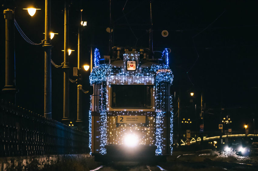 Budapest Tram Architecture Building Exterior Built Structure Christmas Decoration Christmas Lights City Electricity  Glowing Illuminated Lighting Equipment Night No People Outdoors Street Light