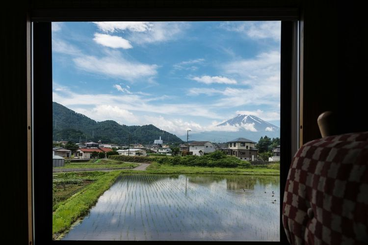 Mountain Mountain Range Reflection Sky Cloud - Sky Lake Window Water Scenics Landscape No People Tranquility Day Snow Travel Destinations Outdoors Nature Beauty In Nature Mount FuJi Rice Paddy Yamanashi Japan EyeEmNewHere