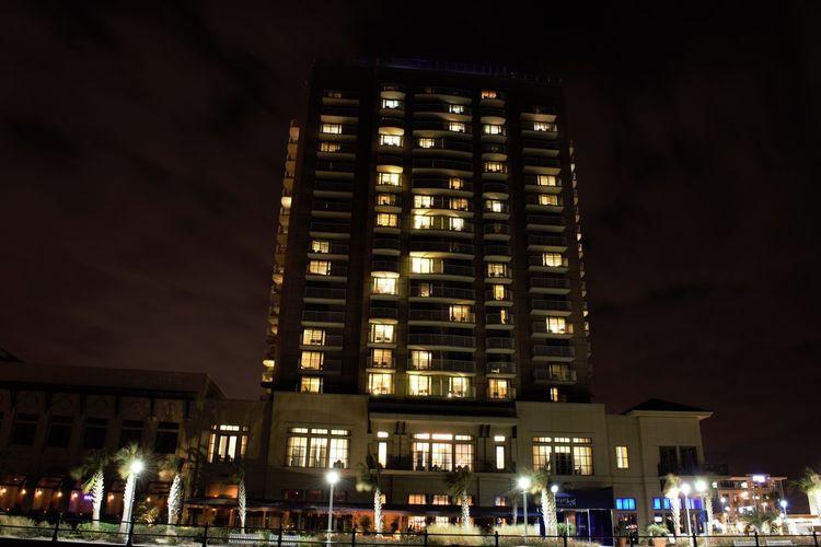 Atlantic Ocean Beach Boardwalk City Illuminated Night Outdoors Sky Time Exposure