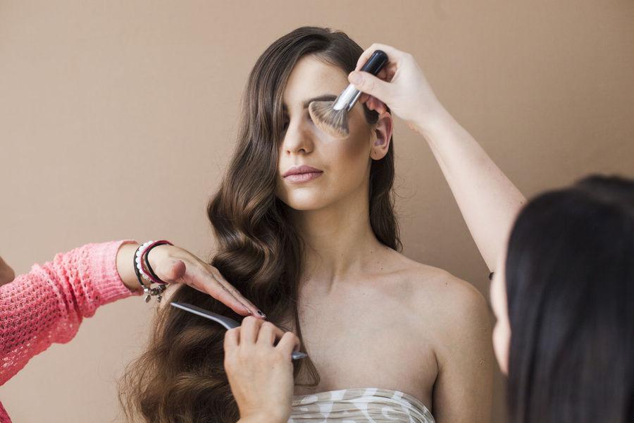 Beautiful Woman Beauty Brown Hair Brush Close-up Glamour Hairdresser Hairdressing Hairstyle Headshot Make-up Makeup Makeup Brush Makeupartist Makeuptransformation Photoshoot Photoshooting Preparation