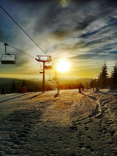 Sunset Silhouette Outdoors Sky Cloud - Sky Nature Winter Snow Snow Sports People Day Ski Resort  Ski Ski Holiday in Medvedin Czech Republic