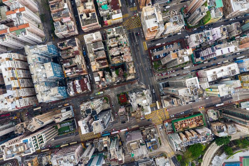 Aerial view of buildings in city