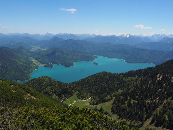 View of lake from the herzogstandbahn Bavarian Alps Bavarian Landscape Beauty In Nature Day Germany Hertzog Standbahn Landscape Mountain Mountain Range Nature No People Outdoors Scenics Sky Tranquil Scene Tranquility