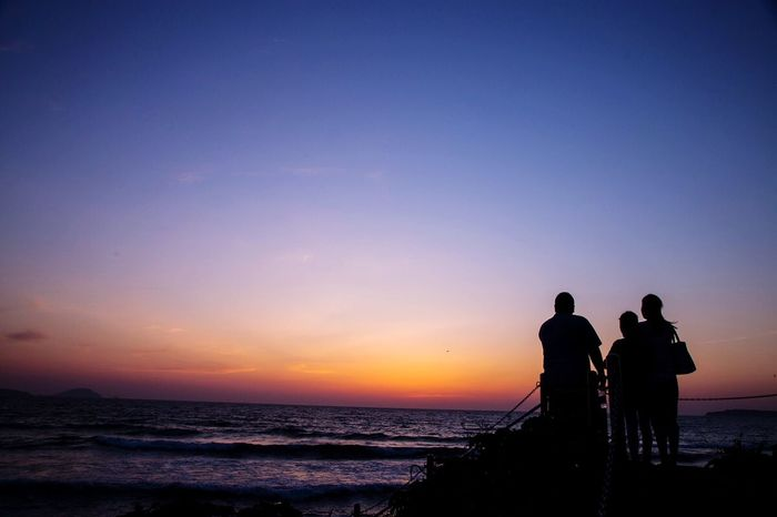 Fukuoka,Japan Fukuoka-shi Sunset Silhouettes Seascape