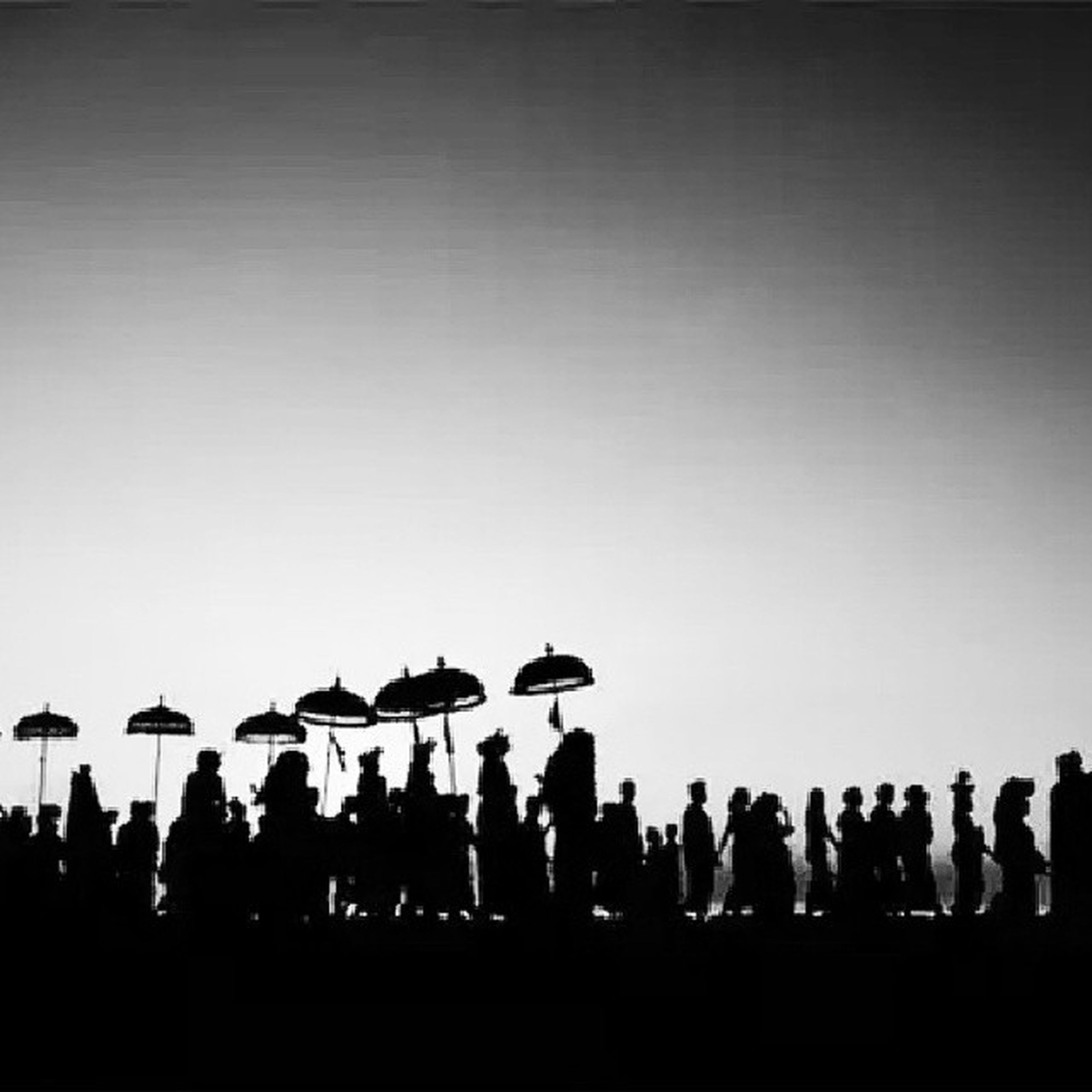 copy space, clear sky, large group of people, silhouette, men, flying, transportation, airplane, animal themes, lifestyles, bird, person, leisure activity, togetherness, air vehicle, outdoors, travel, mode of transport, dusk