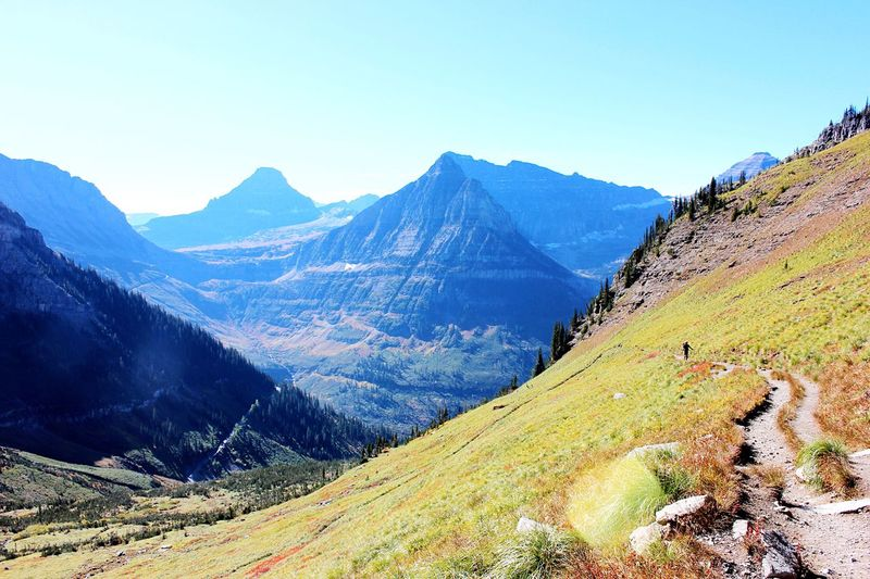 Scenic view of rocky mountains against sky at glacier national park
