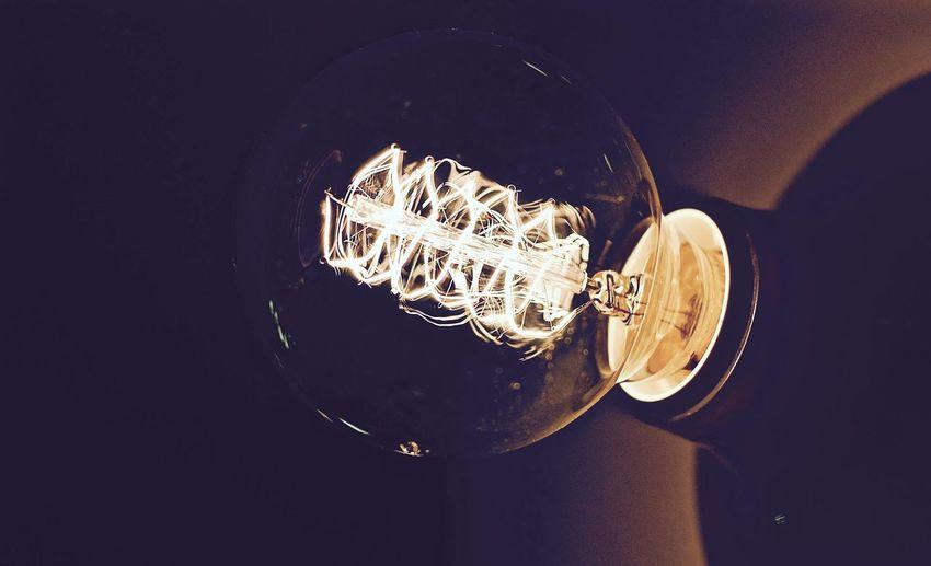Close-up Electricity  Filament Illuminated Light Bulb Lighting Equipment No People Technology