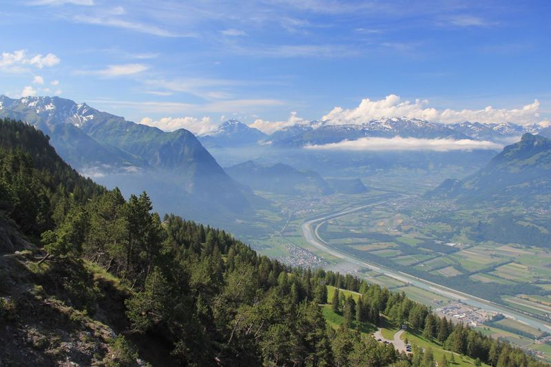 High angle view of scenic landscape