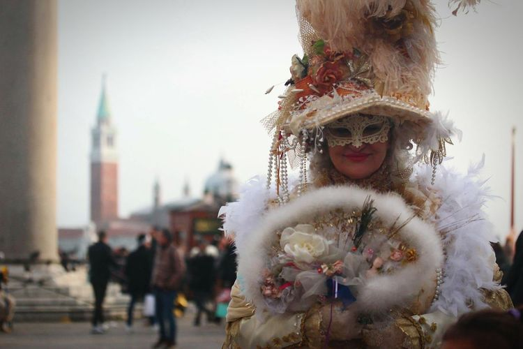 Lady Celebration City Outdoors People One Person Adults Only Day Adult Venice Italy Traditional Festival Carnival St Marks Square Only Women Venetian Mask Venetian Traditional Clothing Celebration