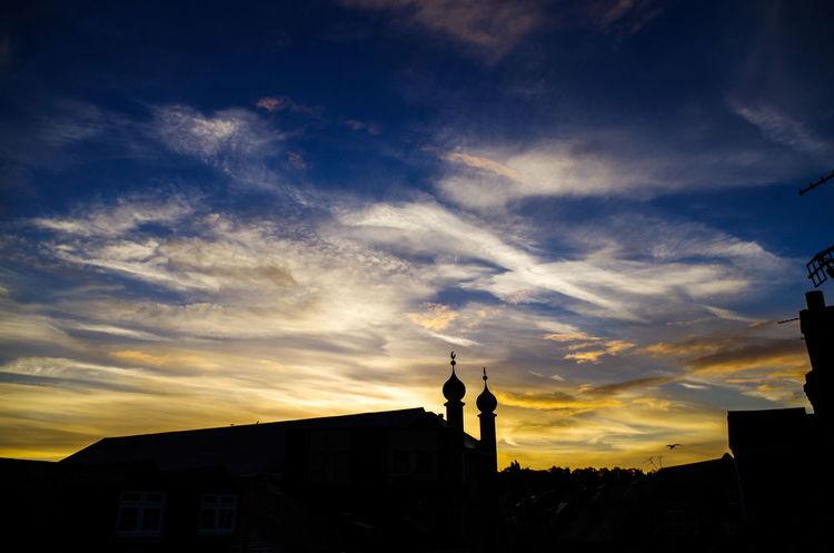 Sunrise Silhouette Building Exterior Beautiful Sky Cloud - Sky PENTAX K-30 DSLR Photography Goodmorning :) Beautiful ♥ Beautiful Colors Mosque Blue Sky Viewfrommyroom