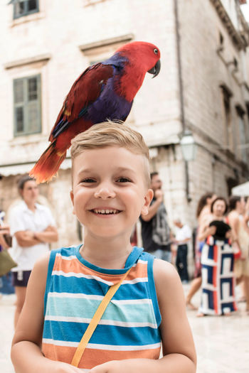 Happy little boy having fun while parrot is standing on his head.
