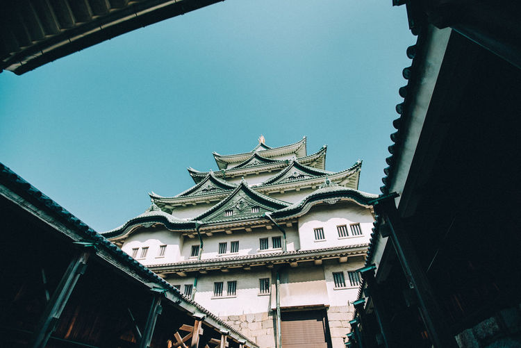 Architecture Blue Building Low Angle View Nagoya Nagoya Castle Place Of Worship Residential Structure Sky