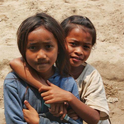 Portrait Friendship Girls Children LAO Native People Poor