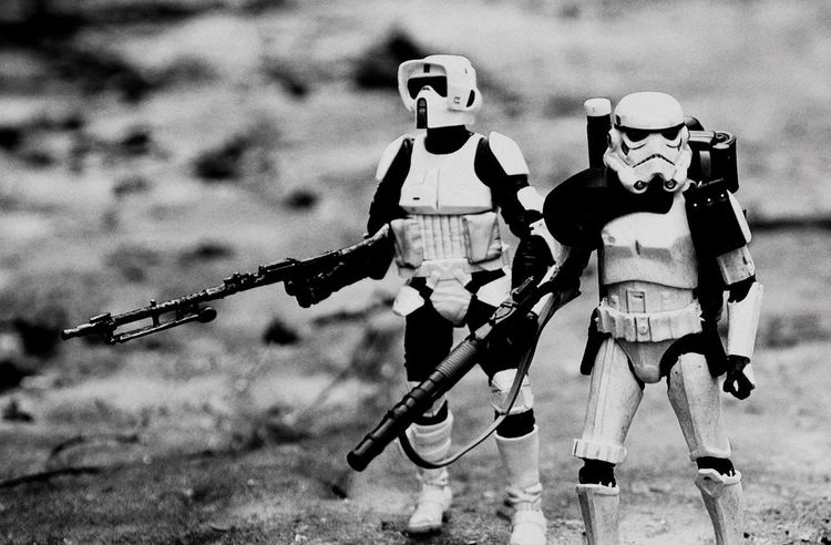 Black and white version of photo from my instagram @tuskenmilkbar Starwarstoypics Starwarsblackseries Theblackseries Scouttrooper Sandtrooper Starwarstoys Starwarsfigures Starwarstoyfigs Starwarstheblackseries Bikerscout Blackseries Starwars Hasbro Stormtrooper