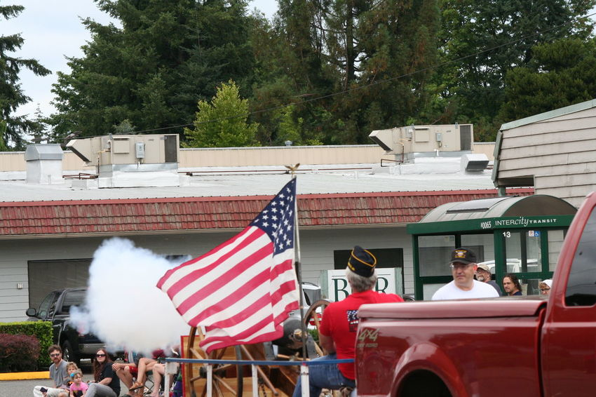 4th Of July 2016 4th Of July Parade American Flag Cannon Day Lifestyles Mode Of Transport Outdoors Parade Red Sky Smoke