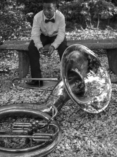 Band life. Somebodyhastoguardthetuba New Orleans Brass Instruments Sharp Dressed African American Cool Kid One Person Outdoors Musical Instrument Musicfestival Middle School Band Competition Connected By Travel