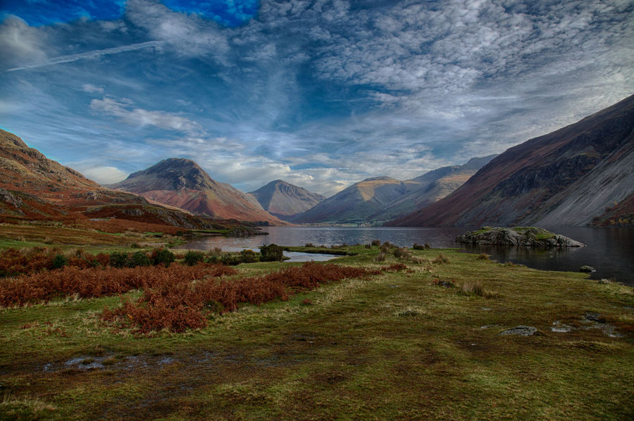 Beauty In Nature Blue Sky And Clouds Day Grass Lake District National Park Landscape Mountain Mountain Peak No People Outdoors Scenics Sky Travel Travel Destinations Water First Eyeem Photo