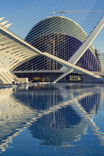 Architecture Calatrava Lines Reflection SPAIN Shapes València Water Reflections Architecture Bridge - Man Made Structure Building Exterior Built Structure City Connection Day Modern No People Outdoors Reflection Sky Water Waterfront
