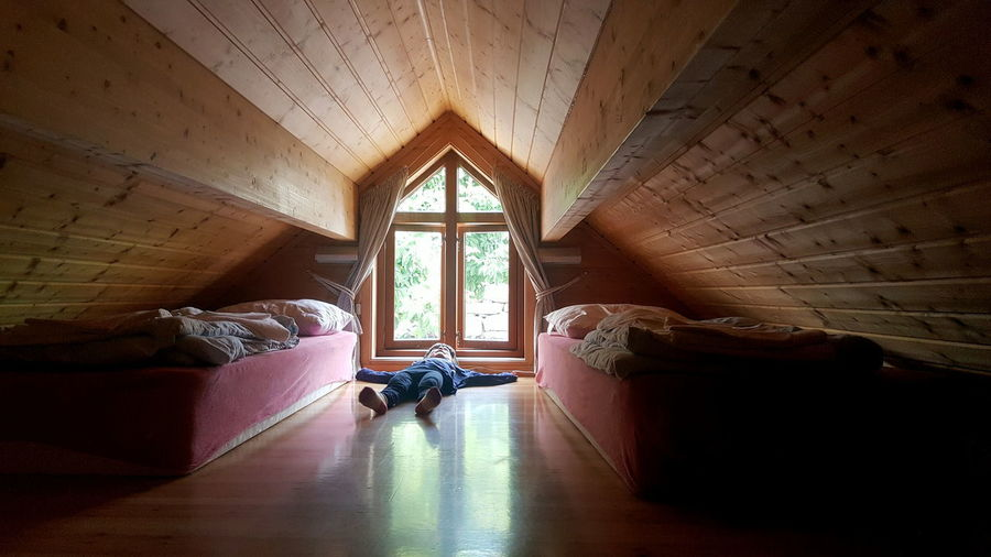 Beds Attic Low Ceiling Window Norway Indoors  Bed Furniture Architecture Home Interior Domestic Room Relaxation Built Structure Bedroom Flooring Sunlight Curtain House