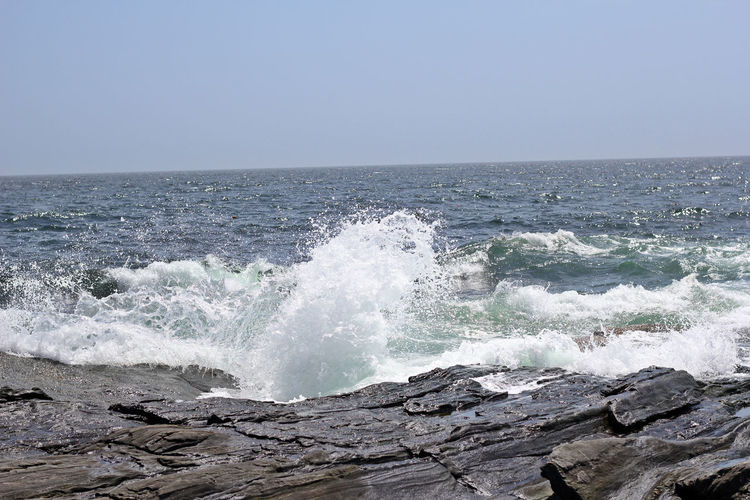 Rocky Coast Of Maine Rocky Coastline Rough Waters Rough Sea Beauty In Nature Clear Sky Day Deep Blue Horizon Horizon Over Water Nature No People Outdoors Rocks Rough Coast Sea Sky Water Wave Waves Waves Crashing Layers Three Layers Nature Patterns
