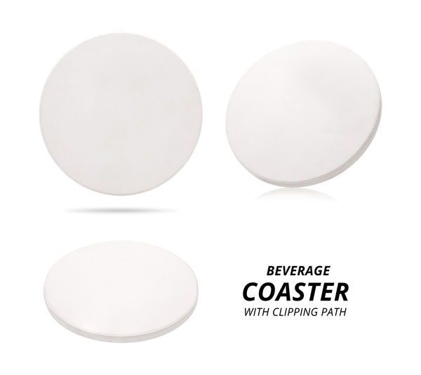 Ceramic beverage coaster isolated on white background. Ceramic pad for put your mug. ( Clipping path ) Beverage Coasters CutOut Drinks Isolated Mat Modern Stack Board Ceramics Coaster Cut Out Decoration Drink Drinking Label Material Mug Pad Protection Round Shape Space White Background White Color