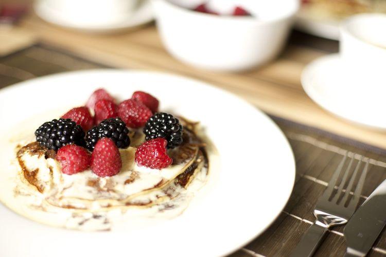 Close-up of fresh mini berry tart