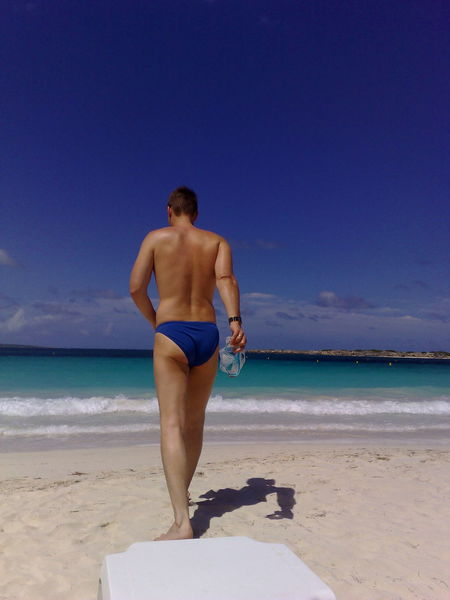 Beach Sea Rear View Vacations Adult Sand One Person Human Back Beauty Summer Blue Sky Blue Saint Martin