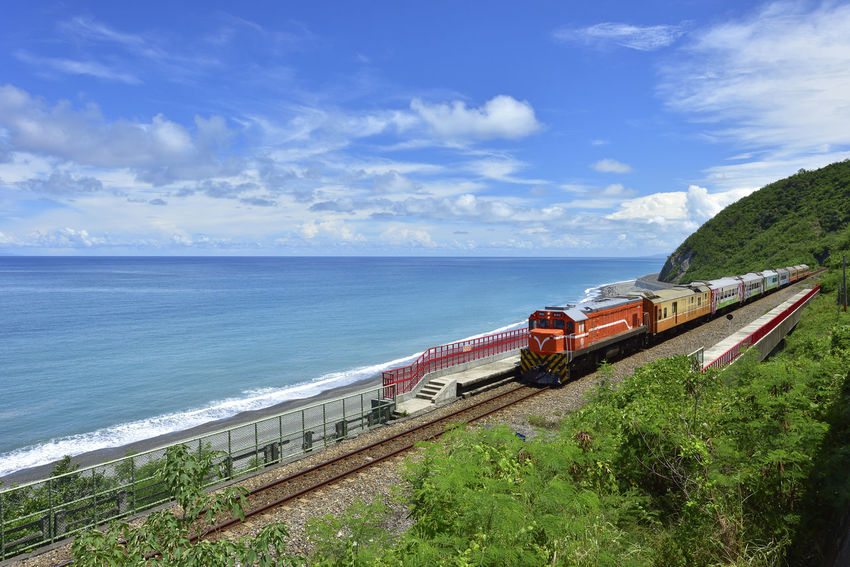 Taiwan's eastern coastline scenic area, is a station Taitung station is the coastline of the most beautiful scenery of a small train station. More Station White Clouds Beautiful Coast Beauty In Nature Blue Cloud - Sky Day Freight Transportation Grass Horizon Over Water Journey Mode Of Transport Nature Nautical Vessel No People Outdoors Railway Scenics Sea Sky Train Station Tranquility Transportation Tree Water