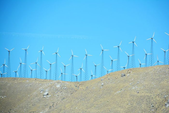 Wind power Windmill Wind Turbine Many Technology Eco Ecology Power In Nature Power Source Blue Sky