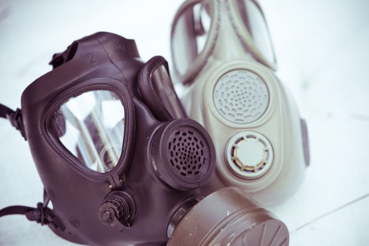 Close-up of gas masks