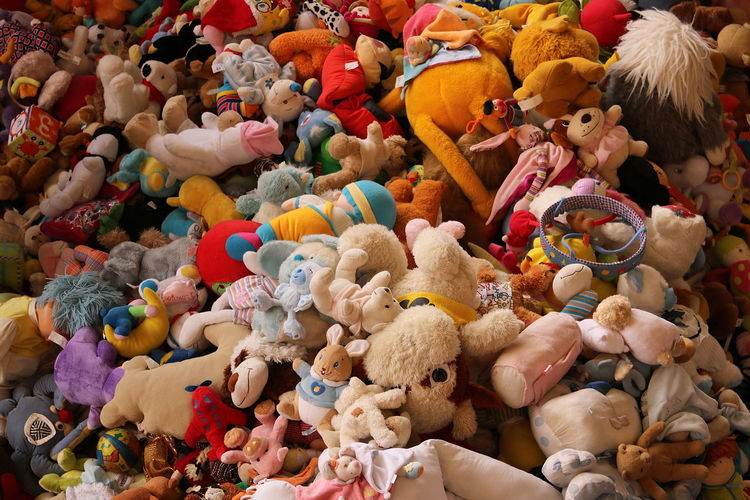 High angle view of multi colored toys for sale in store