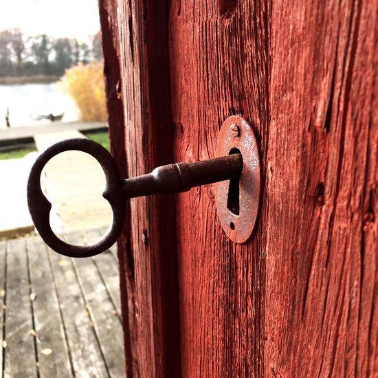 Door Door Handle Wood - Material Close-up Metal Outdoors Safety Lock No People