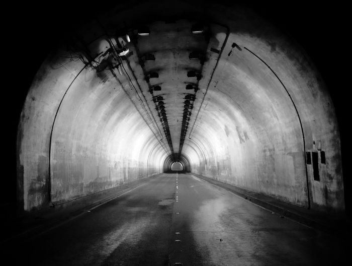 Pali Hwy Tunnel Road Oahu, Hawaii The Way Forward Black And White Photography Street Road Pull Over