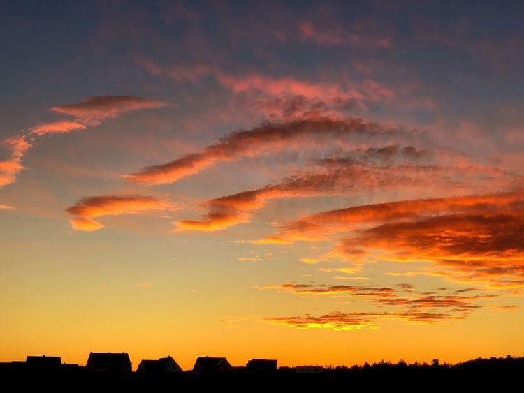 Sonnenuntergang über Knetzgau Sunset Sky Silhouette Orange Color Cloud - Sky Beauty In Nature Scenics - Nature Dramatic Sky Outdoors
