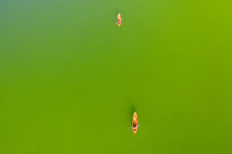 Canoe paddling on vransko lake nature park, croatia