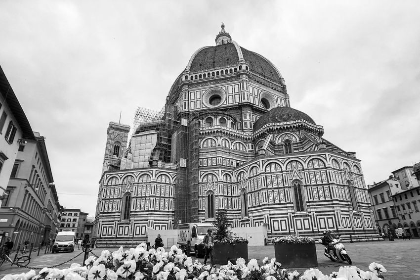 Florence Cathedral Monochrome Black And White Light And Shadow Architecture Built Structure Building Exterior Sky Building Cloud - Sky Tourism Spirituality Travel Destinations Religion Place Of Worship Low Angle View History City Travel Belief The Past Day Outdoors