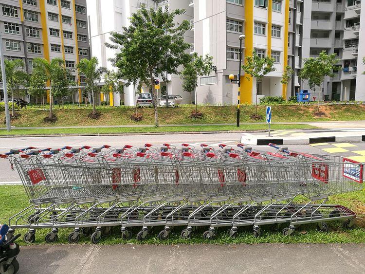 Beautifully Organized Trolleys Lineup Horizontal Lines Horizontal Queue Queue Up No People Neighbourhood