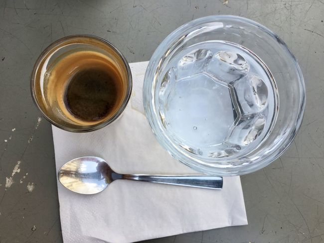 Espresso Coffee Crockery Cup Directly Above Drink Drinking Glass Eating Utensil Food Food And Drink Freshness Glass High Angle View Household Equipment Indoors  Kitchen Utensil Mug No People Refreshment Spoon Steel Still Life Table