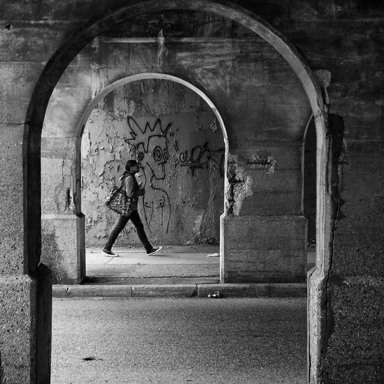 Underpass in Detroit, Michigan Arch Architecture Blackandwhite Photography Building Exterior Built Structure City Life Cityscape Day DetroitMichigan Indoors  No People UNDERPASS GRAPHITTI Urban Urban Geometry Walking Around