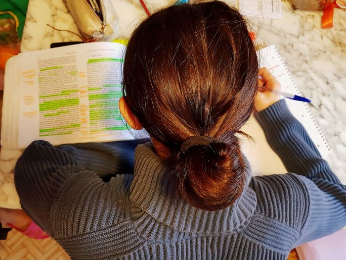 Rear view of woman studying at home