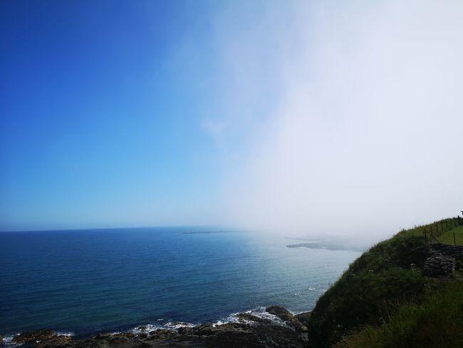 Fog Water Sea Blue Sky Horizon Over Water Landscape Mist Weather Foggy Coast