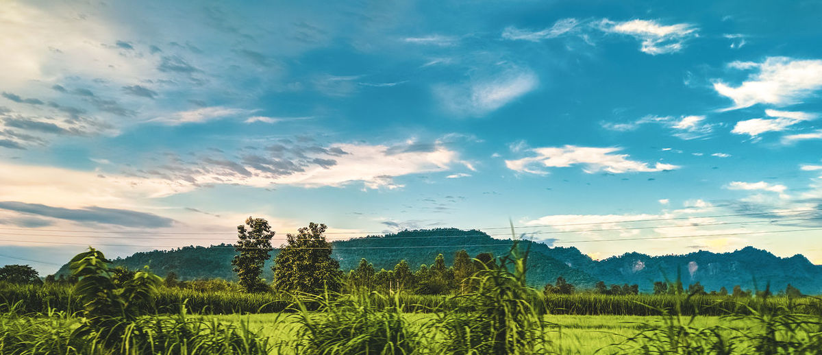 Sky And Clouds Beauty In Nature Cloud - Sky Countryside Cyan Environment Field Green Color Growth Idyllic Land Landscape Mountain Nature No People Non-urban Scene Outdoors Plant Rural Scene Scenics - Nature Sky Tranquil Scene Tranquility Tree Village