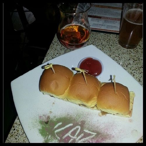 Sliders and a brew. Love football Sundays. Nycalive Football SundayFunday Sliders burger beer astoria katch