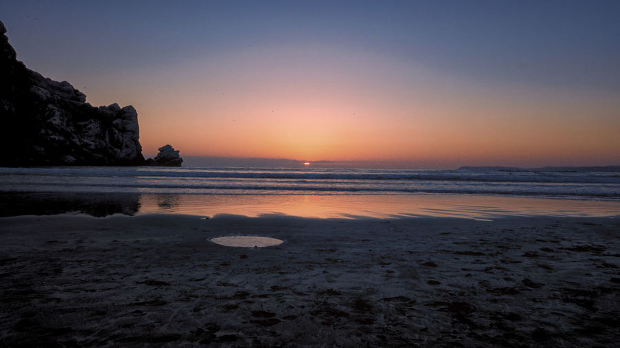 USA 2015 morrow bay Water Sea Sky Beach Sunset Scenics - Nature Land Tranquility Tranquil Scene Beauty In Nature Nature Rock Rock - Object Solid Horizon Horizon Over Water No People Sand Outdoors