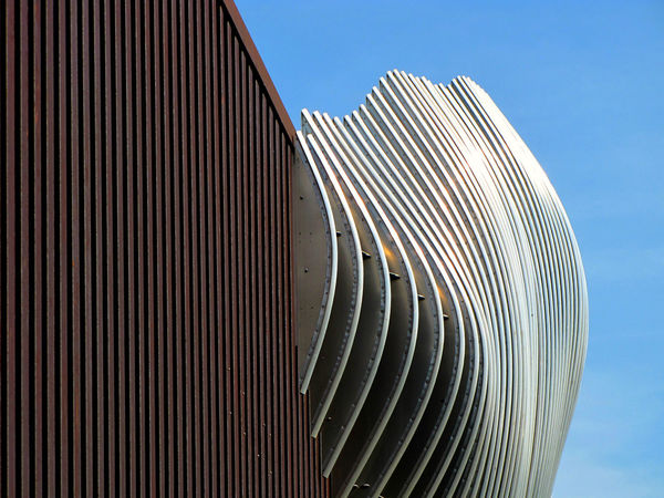 Abstract Architecture Backgrounds Building Exterior Built Structure Close-up Corrugated Iron Curve Day Modern No People Outdoors Pattern Sky The Graphic City