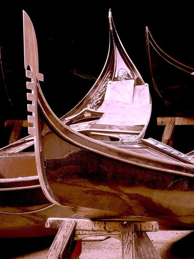 Black Close-up Gondola - Traditional Boat Nautical Vessel No People Outdoors Shipyard Venice, Italy Wood - Material