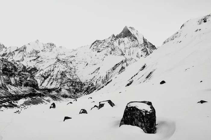 Sense of achievement when I finally reached basecamp Annapurnabasecamp Machapucharé Nepal Snow Belowzero Clean Hike Black And White Its Cold Outside Showcase: January