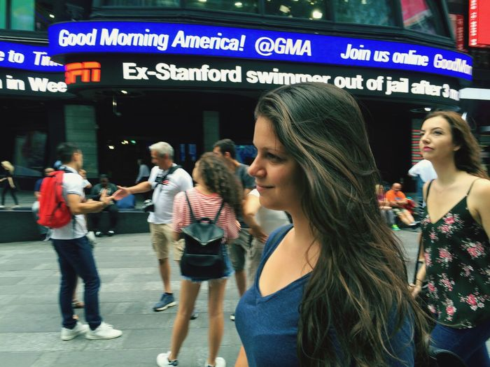 Smiling Times Square NYC NYC Holiday Hello World Enjoying Life Love The City NYC LIFE ♥ New York Summertime SO FUN Lifestyles Leisure Activity City People Architecture Text Casual Clothing City Life #urbanana: The Urban Playground